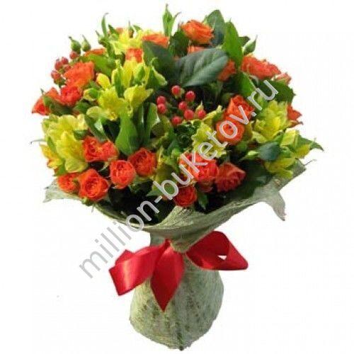 Букет из альстромерии и кустовой розы