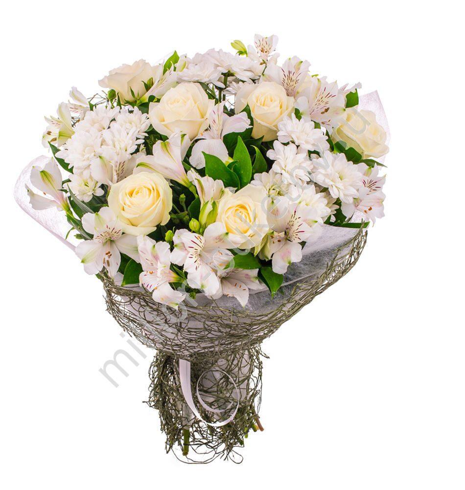 Букет из хризантемы и альстромерии